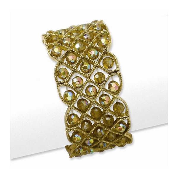 Brass Olive Acrylic Beads Stretch Bracelet