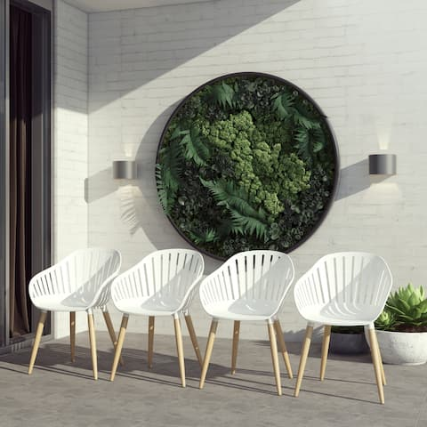 Amazonia Gema 4-Piece Patio Chairs Set - Wood Finish