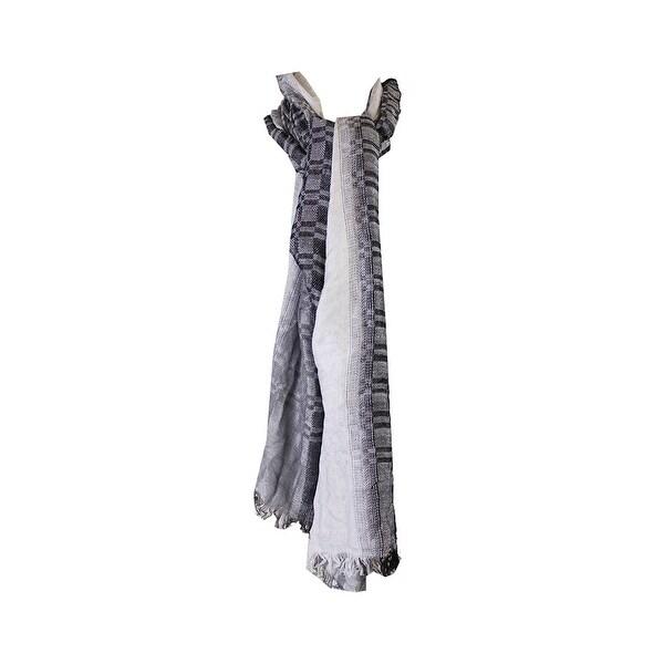Cejon Black Grey Yarn Dye Ombre Checks Day Wrap OS