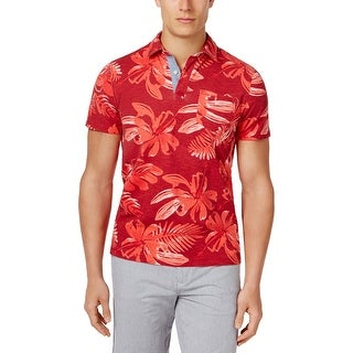 Tommy Hilfiger Custom Fit Red Floral Print Short Sleeve Polo Shirt Small S