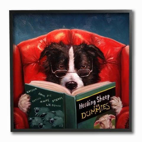 The Gray Barn Dog Reading 'Herding Sheep for Dummies' Funny Painting Framed Art - Multi-Color