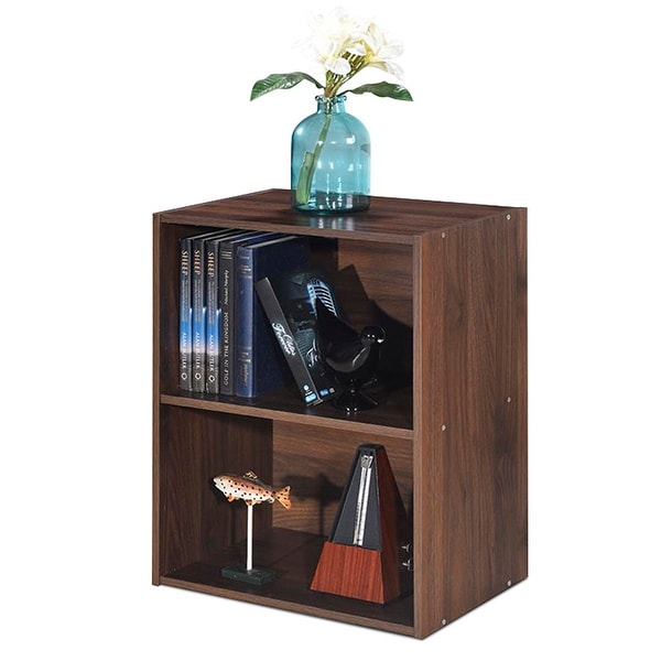 Gymax 2 Tier Open Shelf Night Stand End Table Sofa Side Storage Display Furni Walnut