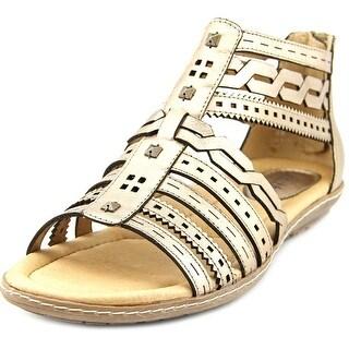 Earth Bay Women Open Toe Leather Gold Gladiator Sandal