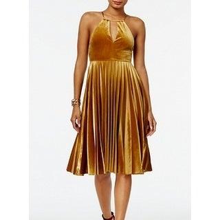Endless Rose Golden Yellow Womens Size Large L Velvet A-Line Dress