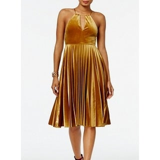 Endless Rose Golden Womens Large Velvet A-Line Dress