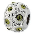 Sterling Silver Reflections White & Green Crystal Bead - Thumbnail 0
