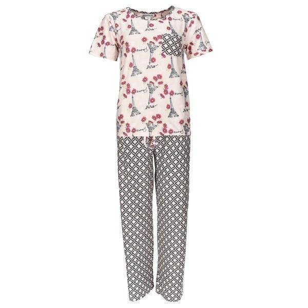 54173fe7b Shop Sag Harbor Women s Plus Size Paris Short Sleeve Tee Pant Pajama ...