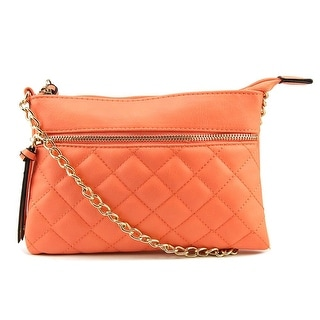 Mix No 6 Quilted Crossbody Women Faux Leather Orange Messenger NWT
