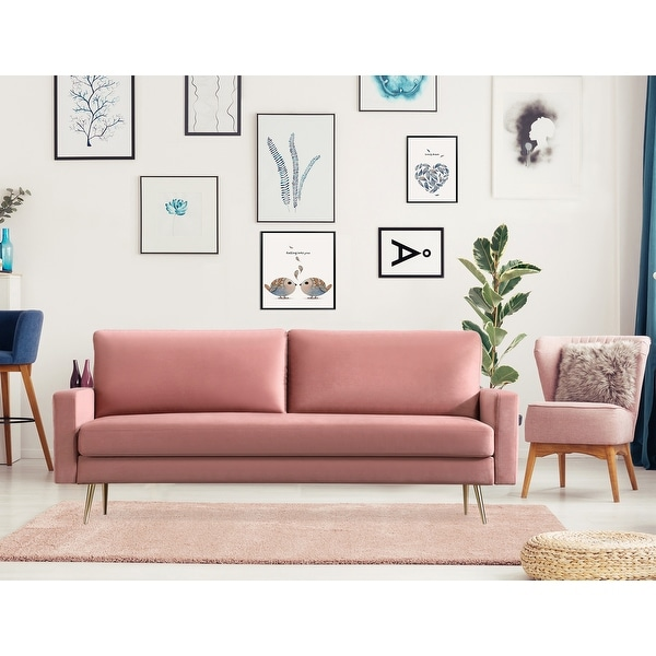 Square Arms Upholstered Fabric Sofa with Pillows. Opens flyout.