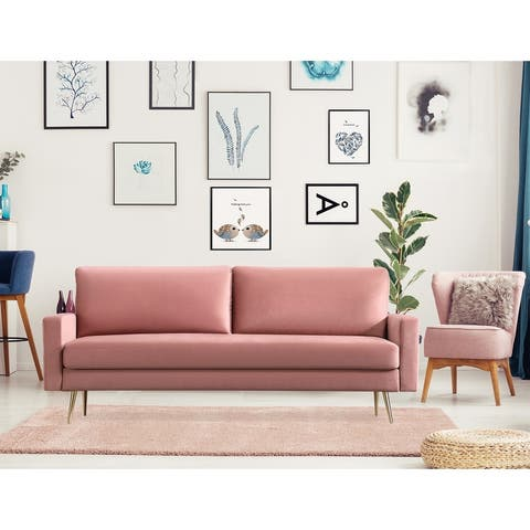 Square Arms Upholstered Fabric Sofa with Pillows