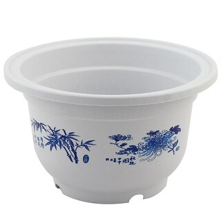 Living Room Plastic Floral Pattern Cactus Flower Plant Container Pot White