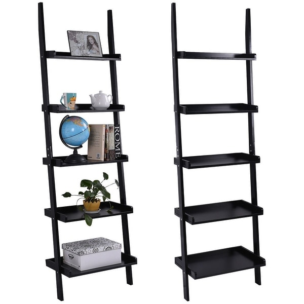Costway Versatile Black 5-Tier Bookshelf Leaning Wall Shelf Ladder Bookcase Storage Display Furni