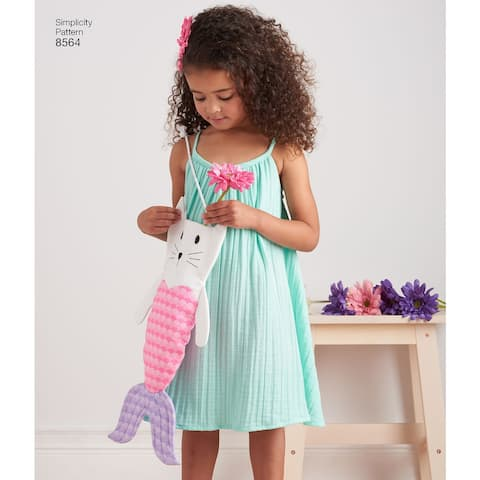 Simplicity Child's Dress, Top, Shorts & Bag-3-4-5-6-7-8 - White
