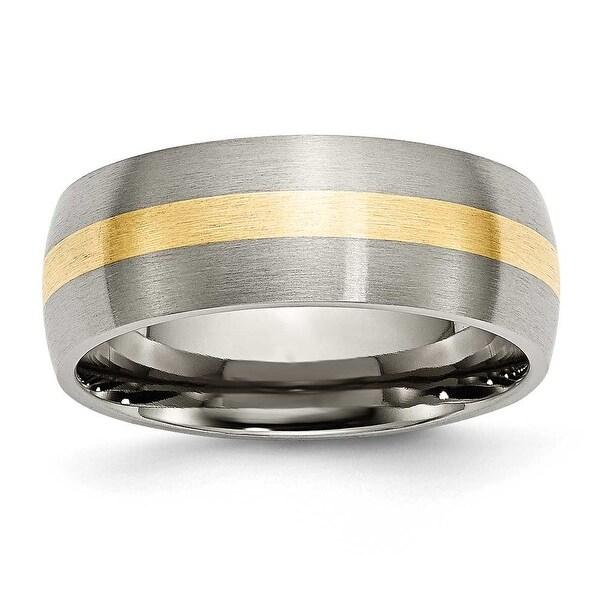 Chisel 14k Gold Inlaid Brushed Titanium Ring (8.0 mm) - Sizes 6-13
