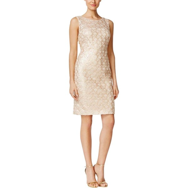 Calvin Klein Womens Cocktail Dress Sequined Lace Overlay