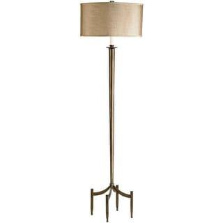 Currey and Company 8448 Corridor Floor Lamp with Camel Silk Shades - Dark Bronze