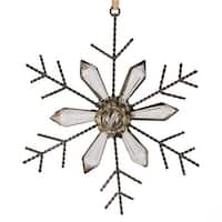 5 in. Silent Luxury Rustic Jeweled Faceted Tip Snowflake Christmas