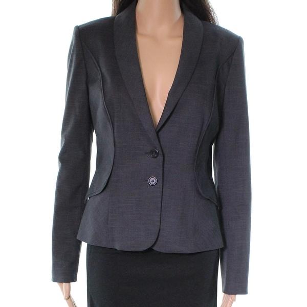 Halogen Gray Glenn Plaid Two Button Women 4 Suit Blazer Jacket