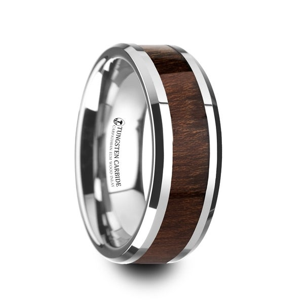 Dacian Carpathian Wood Inlaid Tungsten Carbide Ring With Bevels