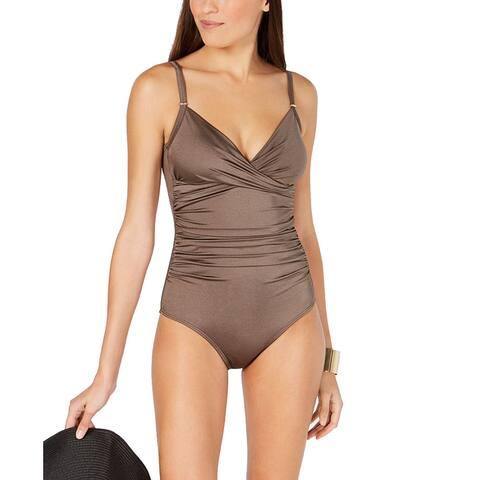Calvin Klein Twist-Front Tummy-Control One-Piece Swimsuit, Bronze Shimmer, 14