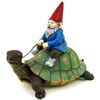 Large Garden Gnome Riding Turtle Statue Patio Pool - 16 X 17 X 9.5 inches