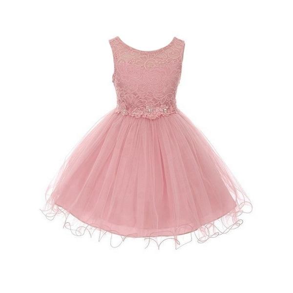 d05cfcd8057b1 Little Girls Dusty Rose Floral Lace Tulle Flower Girl Graduation Dress