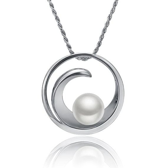 "Circular Wave Necklace Sterling Silver Pendant 18"" Chain"