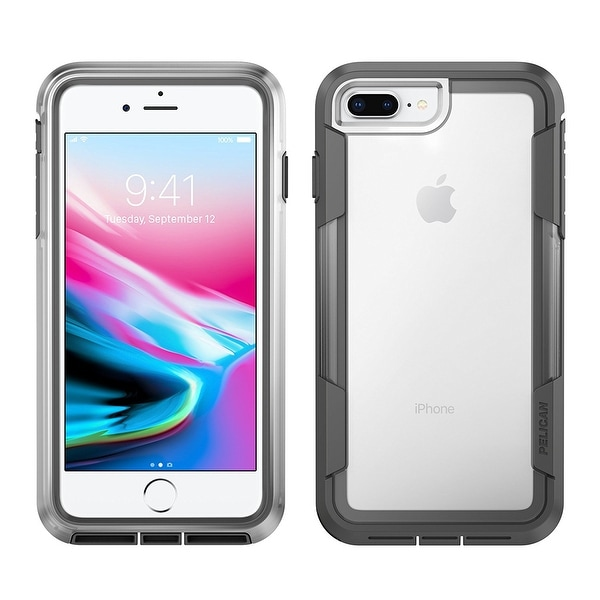 Pelican Voyager 4 Layer Extreme Protection Case for iPhone 8 Plus & iPhone 6/6s/7 - Clear/Grey
