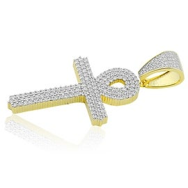 Egyptian Cross Charm Yellow Gold-Tone Silver With CZ Pave Set 47mm Tall