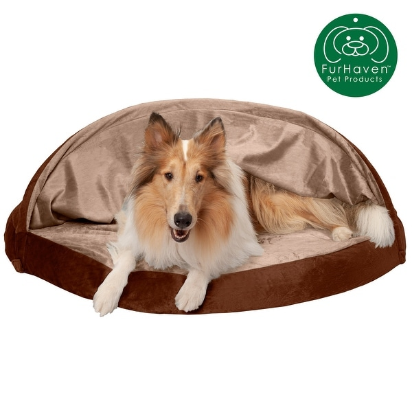 FurHaven Pet Bed | Orthopedic Microvelvet Snuggery Burrow Dog Bed