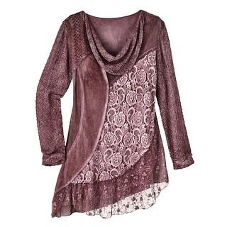 Women's Tunic Top - Mixed Mauves Floral Lace Knit Blouse - Cowl Neck - LARGE