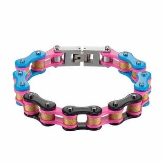 Designer Motorcycle Bikers Link Chain Bracelet Stainless Steel Womens Blue Pink Black New