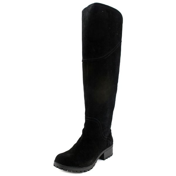 Lucky Brand Harleen Women Round Toe Suede Black Over the Knee Boot