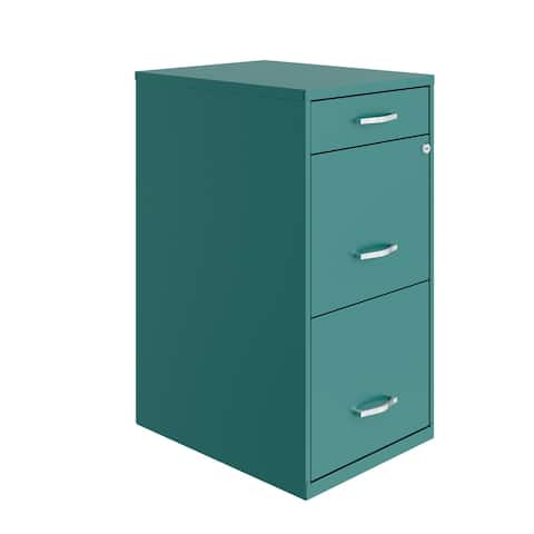 "Space Solutions 18"" Deep 3 Drawer Metal Organizer File Cabinet, Teal"