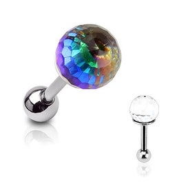 Surgical Steel Press Fit Crystal Ball Top Rainbow Anodized Plate Cartilage/Targus Barbell(Sold Indiv.)