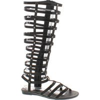 Bumper Lory-90 Women Leatherette Studded Gladiator Knee High Flat Sandal