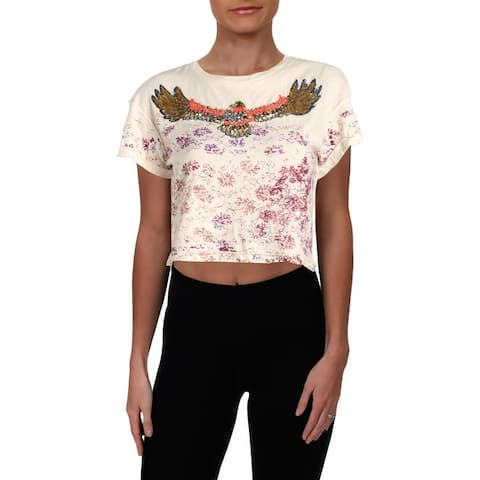 We The Free Womens Crop Top Linen Blend Crewneck