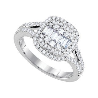 3/4Ctw Diamond 1/4Ct Center Round Bridal Engagement Ring 18K White-Gold