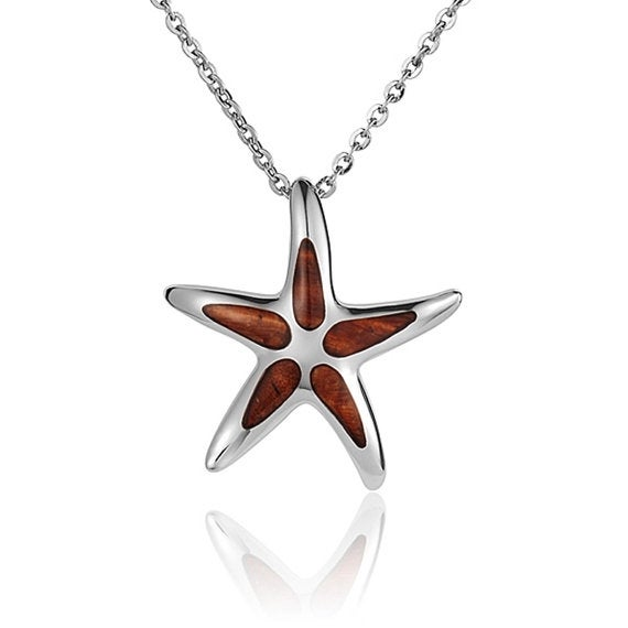 "Starfish Necklace Koa Wood Sterling Silver Pendant 18"" Chain"