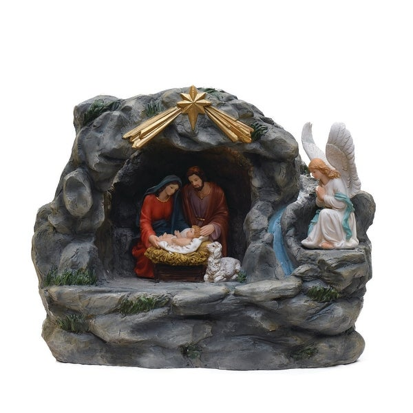 "18.5"" Holy Family and Angel Religious Nativity Fountain with Lamp Table Top Christmas Decoration - multi"
