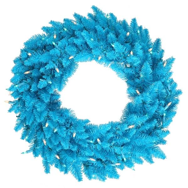 """48"""" Sky Blue Fir Wreath 480T"""
