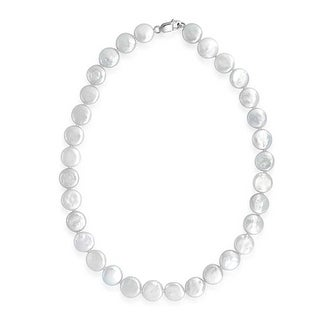 Bling Jewelry .925 Sterling Silver Bridal White 12mm Coin Cultured Pearl Necklace
