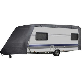 vidaXL Caravan Cover w/ Zipper Fits 20'-23' RV Trailer Travel Camper Storage - grey