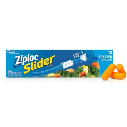 Ziploc 02313 Slider Freezer Bags with Smart Zip Seal, Gallon/Large, 10-Count