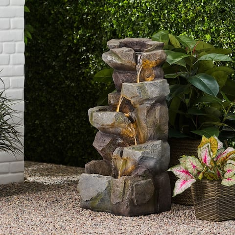 Candler Outdoor Tier Rock Fountain Outdoor 4 by Christopher Knight Home