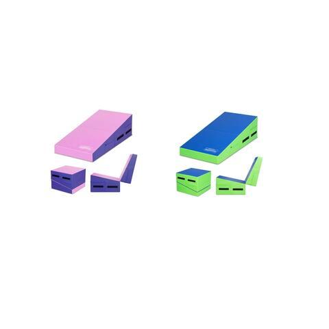 Gymax Folding Gymnastics Tumbling Mat Incline Cheese Wedge Exercise Cushion W/ Handles