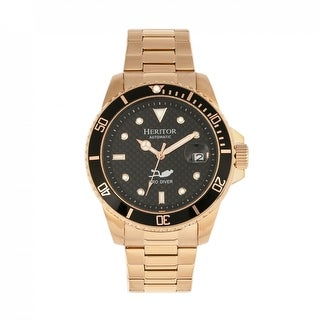 Heritor Automatic Lucius Bracelet Watch w/Date - Rose Gold/Black