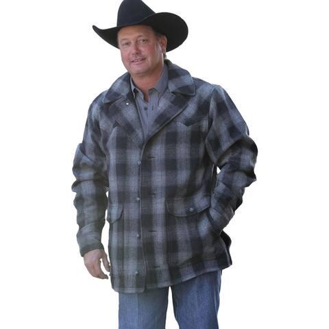 Miller Ranch Western Coat Mens Wool Plaid Button Black