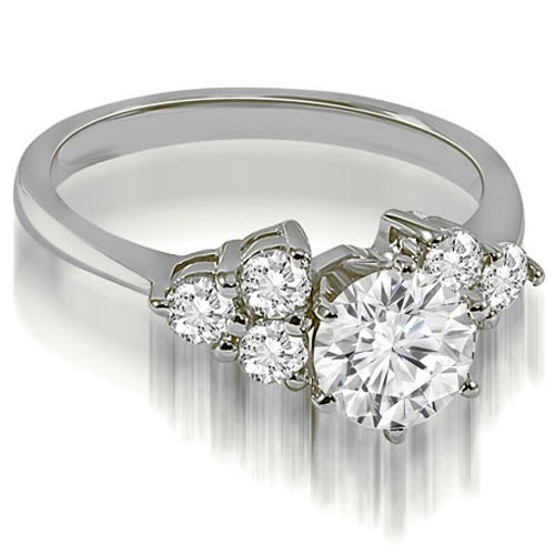 1.10 cttw. 14K White Gold Cluster Round cut Diamond Engagement Ring
