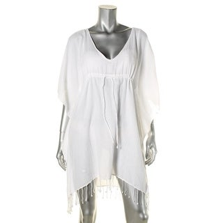 Lauren Ralph Lauren Womens Sheer Fringe Dress Swim Cover-Up